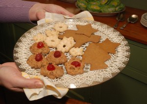 Cookies     An assortment of Swedish ginger cookies, jewel drop cookies, and sugar cookies provide visitors a glimpse of cookie recipes that were popular during the holiday season in the 1940's.