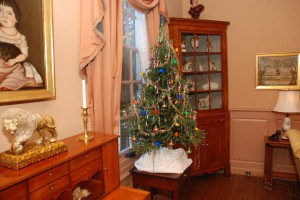 Morning Room         This tabletop Christmas was added to the existing decor in the Morning Room.  It was Abby Rockefeller's favorite room at Bassett Hall.. It was here, surrounded by her theorems that she felt the most comfortable.