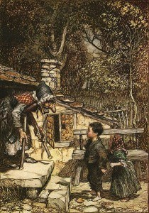 Book illustration from the story of Hansel and Gretel collected by the Brothers Grimm.