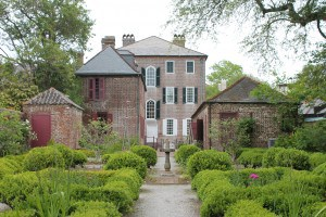 Rear of Heyward-Washington House with Gardens and out buildings.