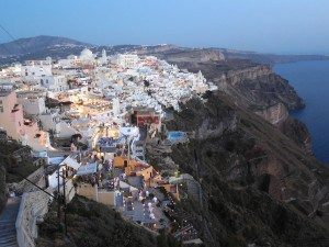 Evening light on Fira, Santorini