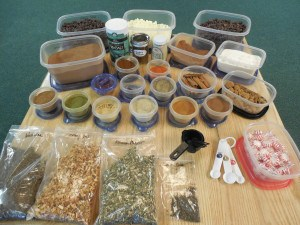 A wide array of spices and herbs