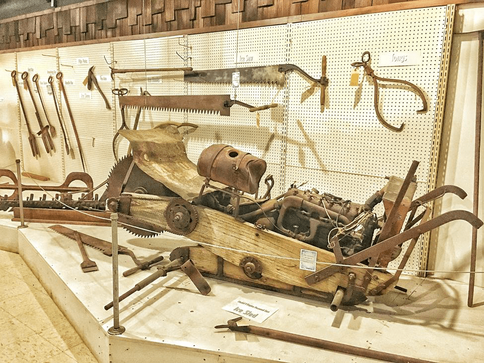 Museum display of ice harvesting tools.