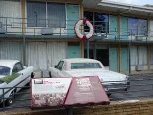 Balcony-where-Dr.-King-was-shot at the National Civil Rights Museum in Memphis.