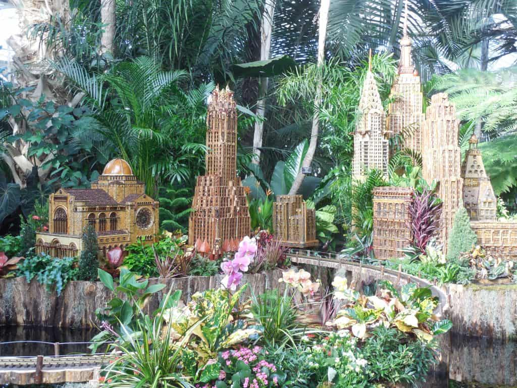 Midtown Manhattan replicas at the New York Botanical Garden's Holiday Train Show