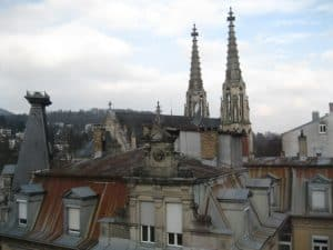 We see the twin spires of the town church from many locations in Baden-Baden