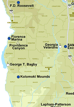Map of area around Bagley State Park in SE Georgia.