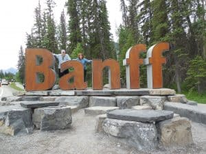 Welcome sign to Banff