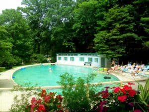 The pool and bath house at the Capon Springs Camp and Farms.
