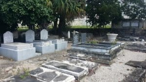 One of the three graveyards on the synagogues grounds.