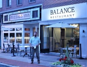 Author Outside the Balance Restaurant, Johnstown PA.