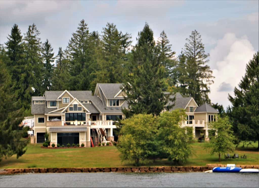 One of many mansions along the lake.