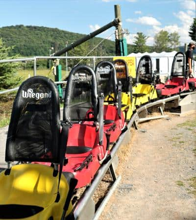Cars line up waiting for the Mountain Coaster