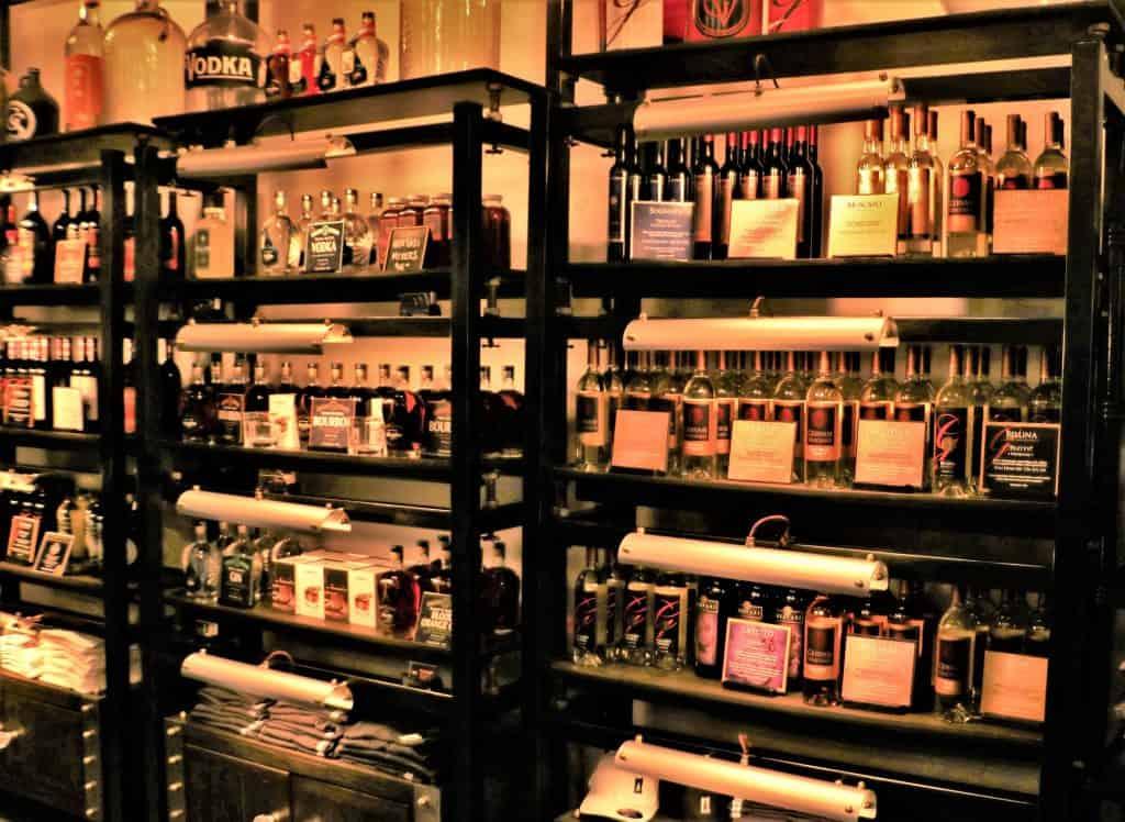 Array of whiskeys distilled at Gervasi's.
